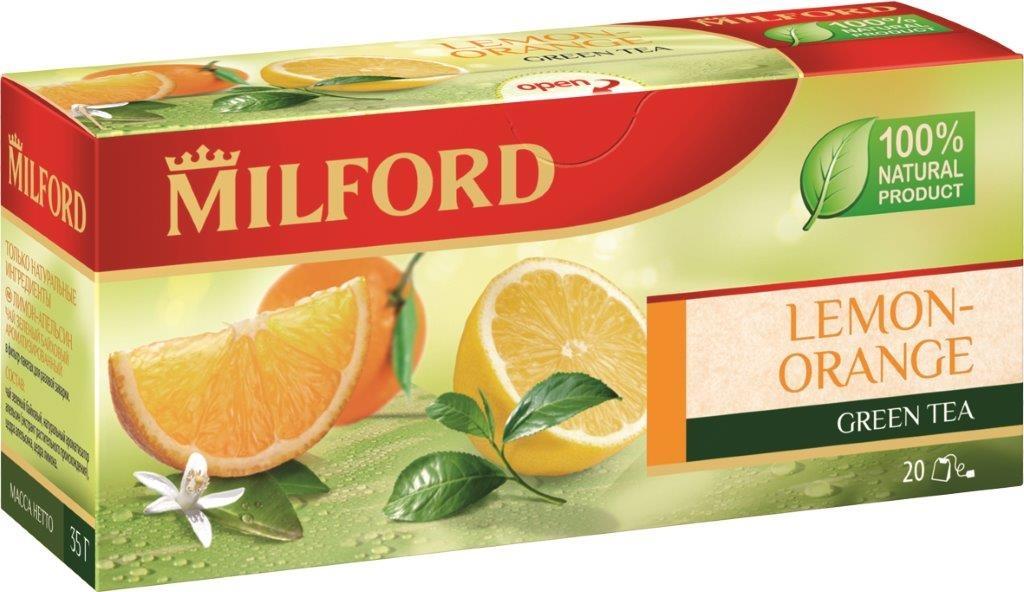 Milford Лимон-Апельсин зеленый чай в пакетиках, 20 шт