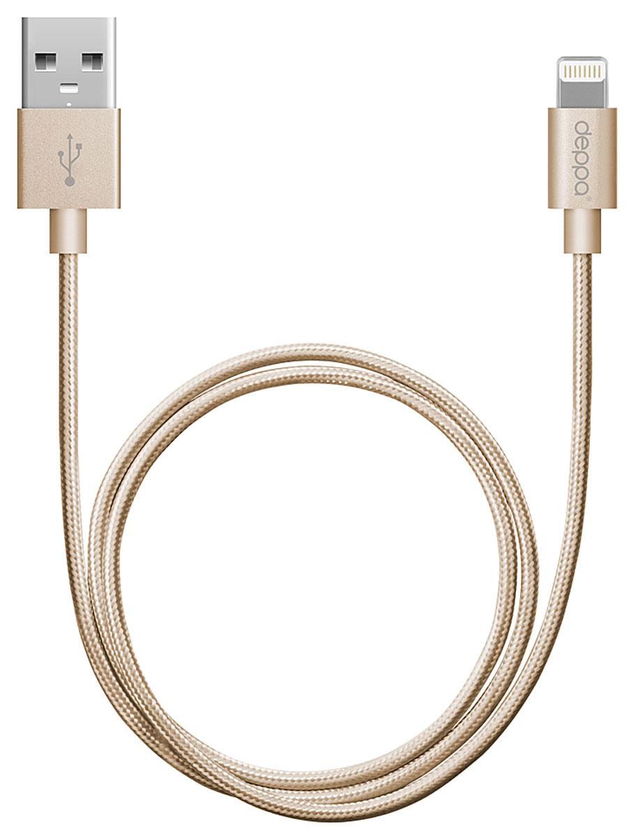 Deppa Alum MFI, Gold дата-кабель USB-8-pin (1,2 м) вера дизайн кожа pu откидная крышка бумажника карты держатель чехол для ipad touch 5 6