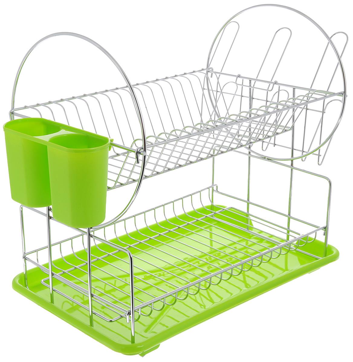 """Сушилка для посуды """"Mayer & Boch"""", цвет: зеленый, серебристый, 42 х 24 х 35 см"""