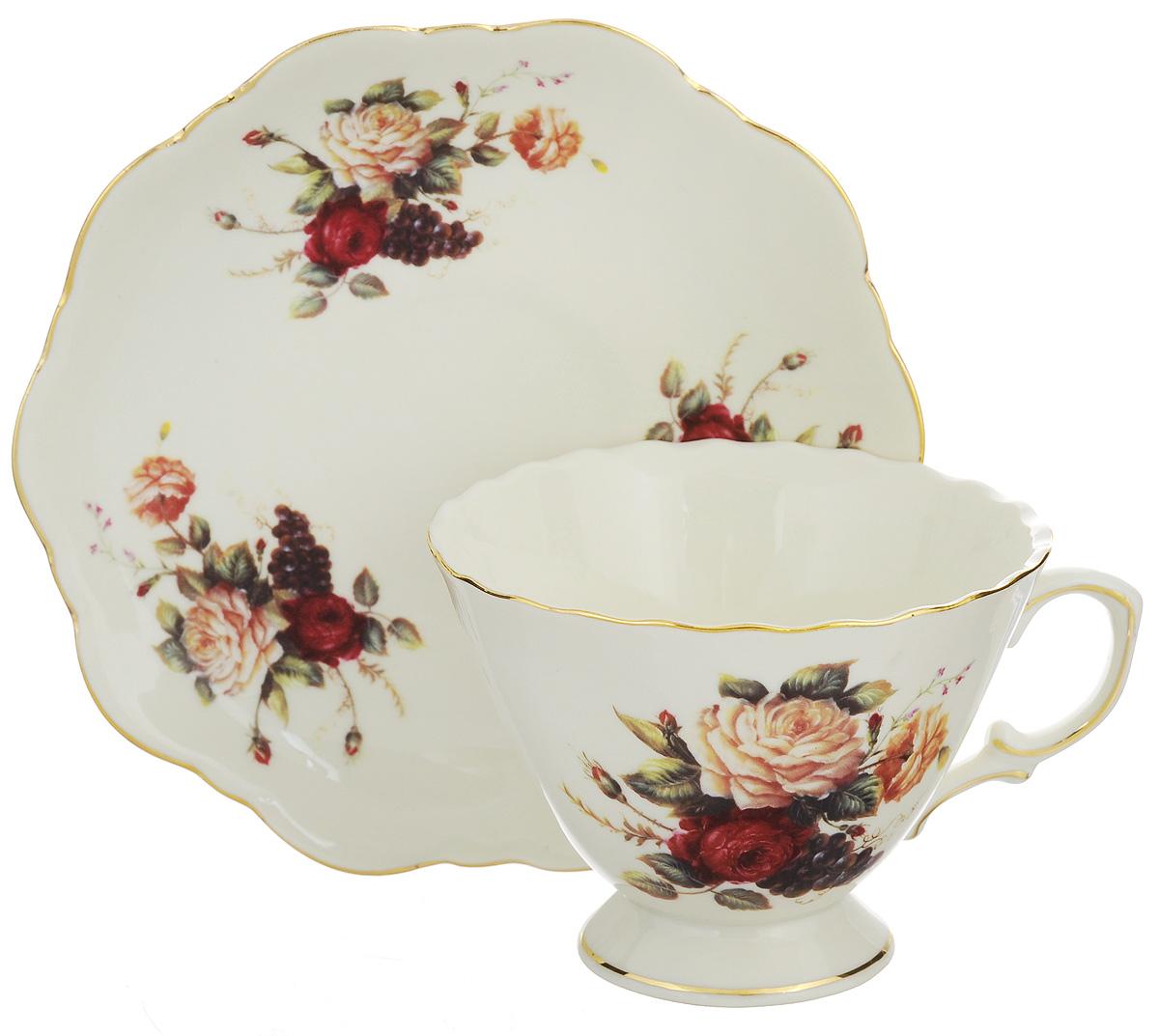 Набор чайных пар Elan Gallery Бархатный нектар, 4 предмета соусник elan gallery листок 15 7 5 2 5 см 2 секции