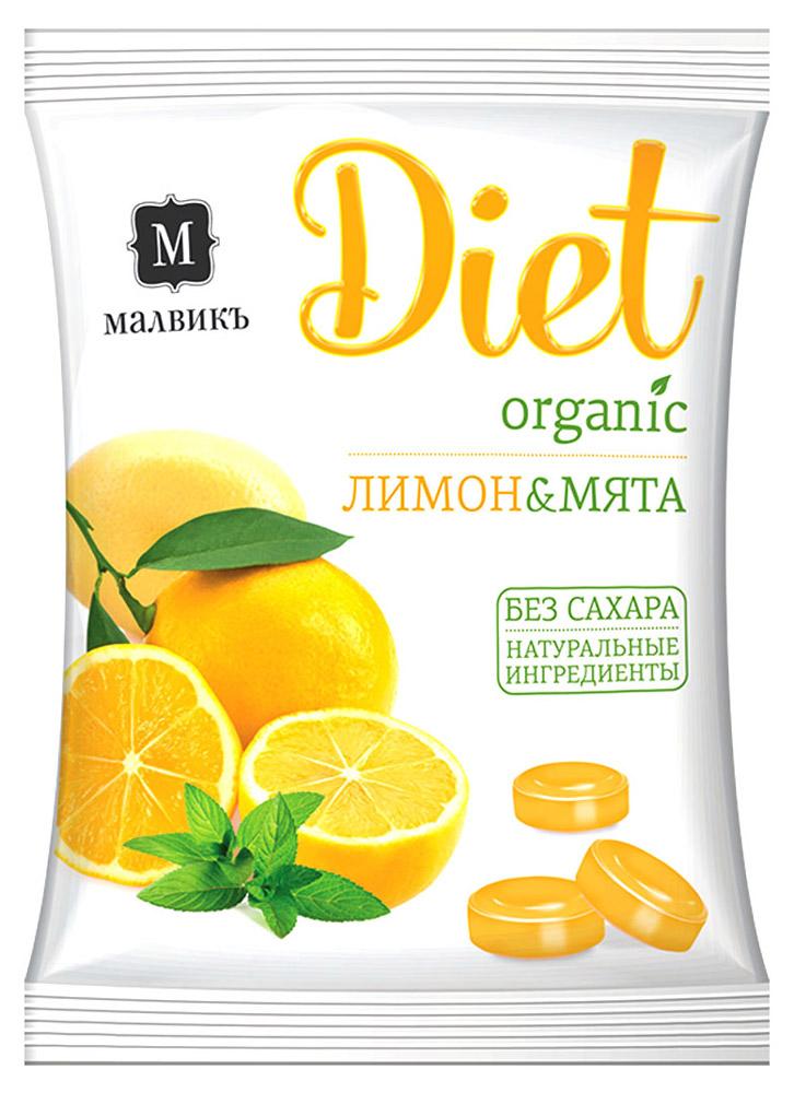 Малвикъ Diet Лимон и мята карамель леденцовая без сахара на изомальте, 50 г актифрут карамель леденцовая лимон мята 60 г