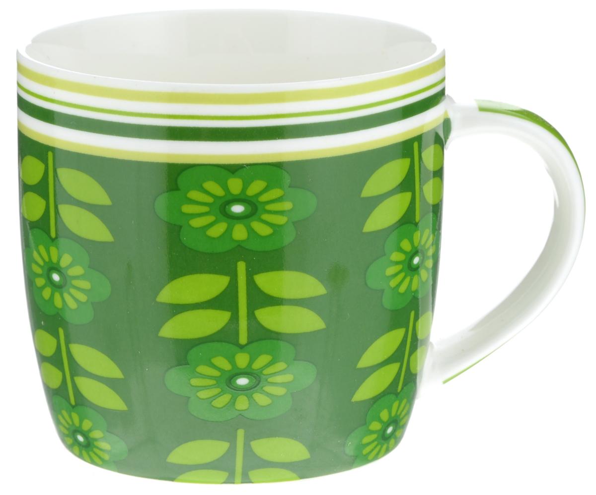 Кружка Loraine Цветы, цвет: темно-зеленый, салатовый, белый, 320 мл кружка loraine цвет белый красный голубой 320 мл 24484