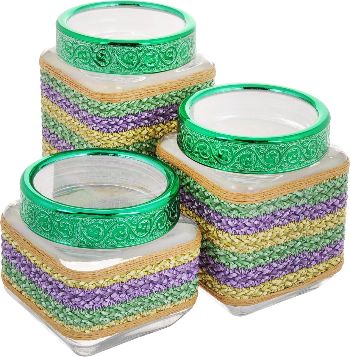 Набор банок для сыпучих продуктов Mayer & Boch, цвет: прозрачный, зеленый, сиреневый, 3 шт. 25514 набор банок для сыпучих продуктов прованс из 4 х шт 1145180