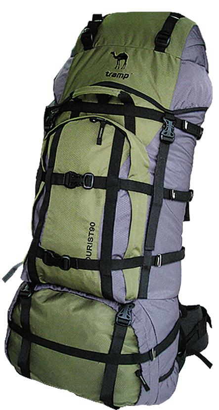 """Рюкзак туристический Tramp """"Tourist"""", цвет: серый, хаки, 90 л"""