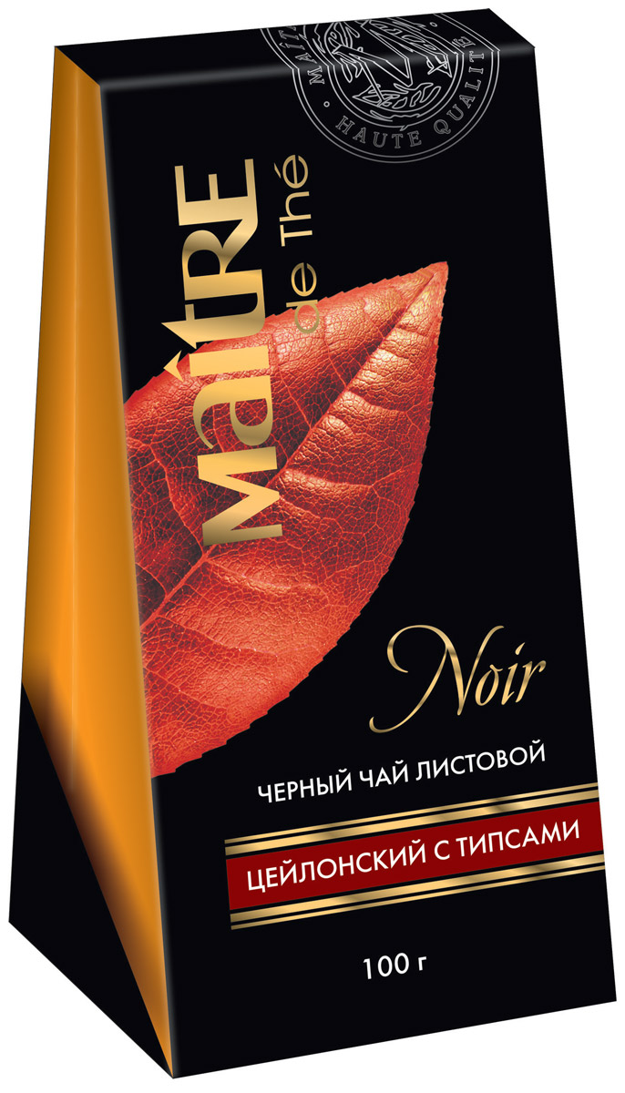 Maitre Цейлон черный листовой чай с типсами, 100 г maitre имбирный пряник черный листовой чай 90 г