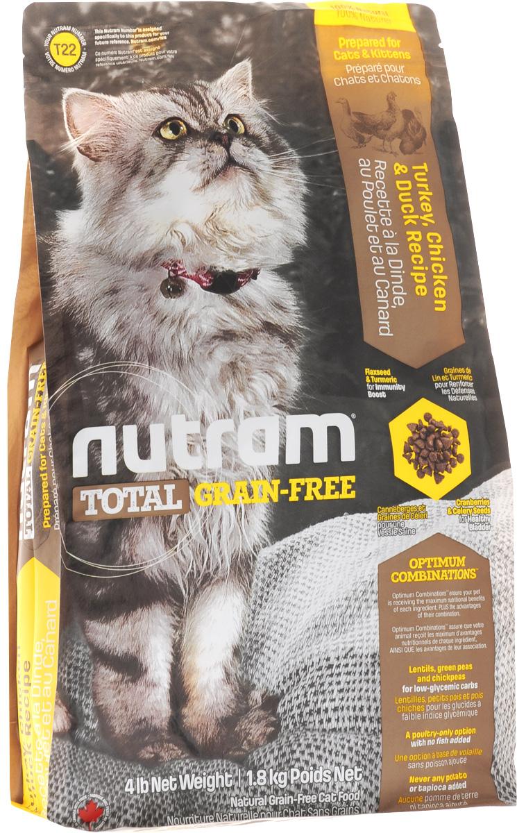 """Корм сухой """"Nutram T22"""", для кошек и котят, беззерновой, с мясом индейки, курицы и утки, 1,8 кг"""