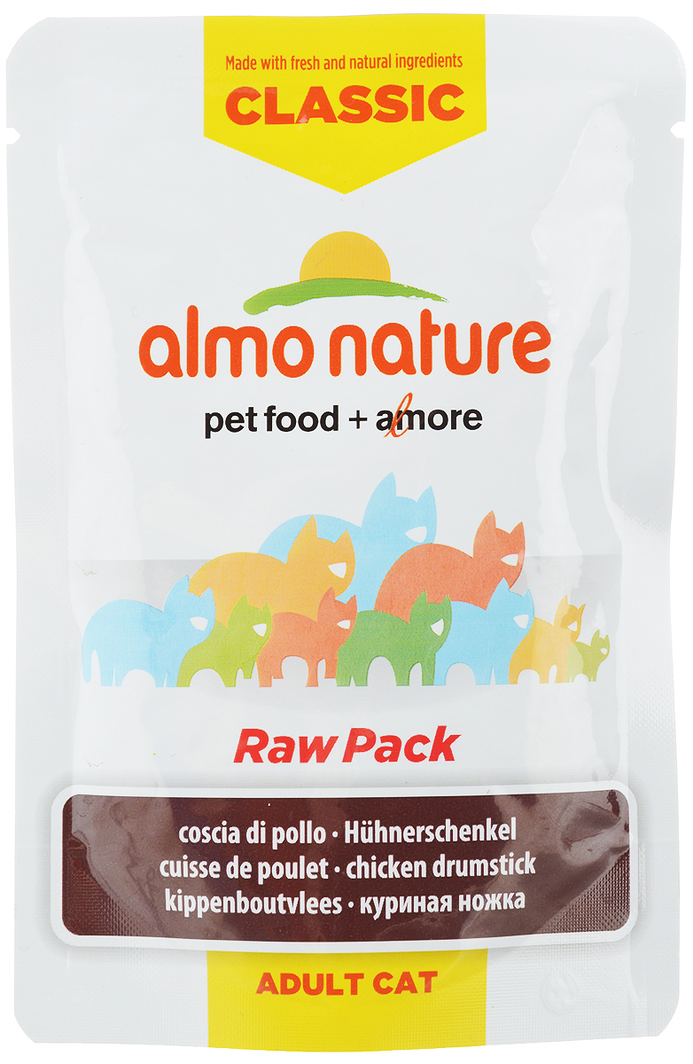 Консервы для кошек Almo Nature Classic Raw Pack, куриные бедрышки, 55 г консервы для кошек almo nature classic raw pack куриная грудка и утиное филе 55 г