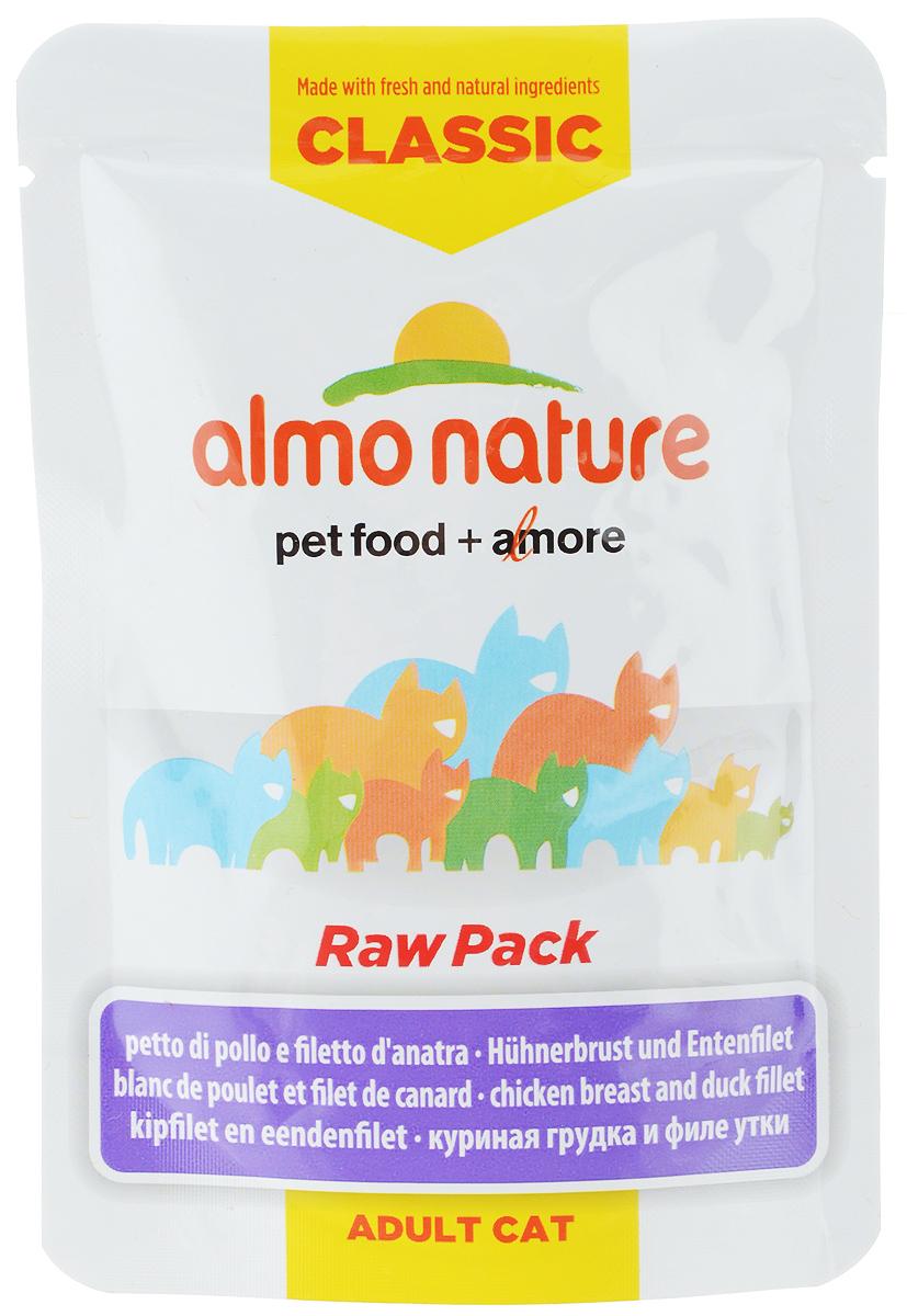 Консервы для кошек Almo Nature Classic Raw Pack, куриная грудка и утиное филе, 55 г консервы для кошек almo nature classic raw pack куриная грудка и утиное филе 55 г