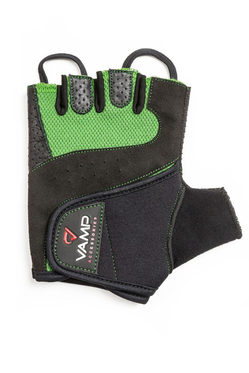 "Перчатки для фитнеса ""Vamp"", цвет: зеленый, черный. RE-560. Размер L"