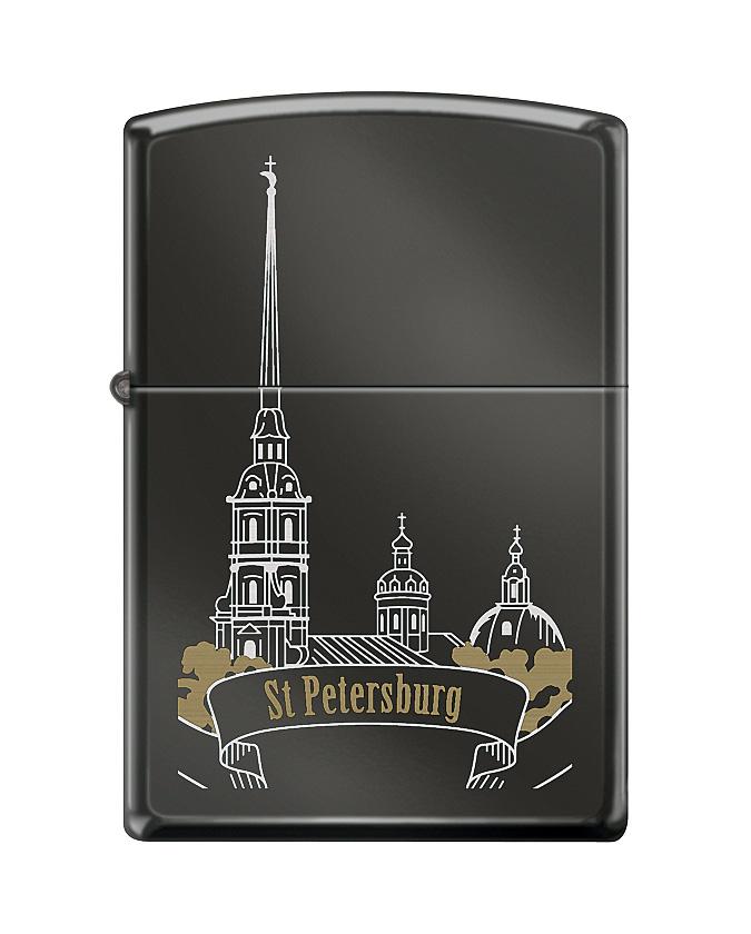 """Зажигалка Zippo """"Classic. St Peter Skyline"""", 3,6 х 1,2 х 5,6 см"""