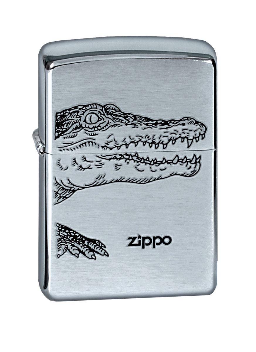"Зажигалка Zippo ""Brushed Chrome. Alligator"""