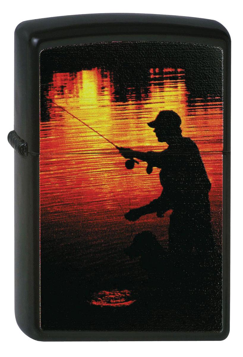"""Зажигалка Zippo """"Classic. Fisherman"""", 3,6 х 1,2 х 5,6 см"""