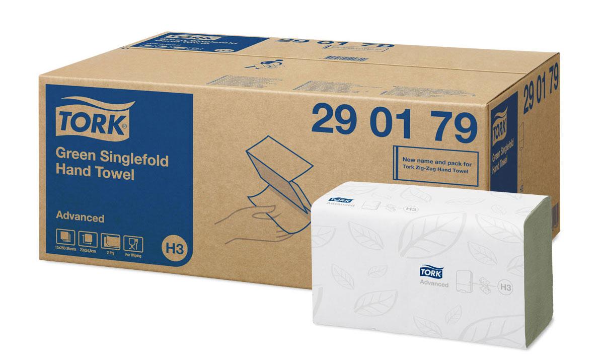 Tork листовые полотенца Singlefold сложения ZZ зеленые 2-сл 250л, коробка 15 шт