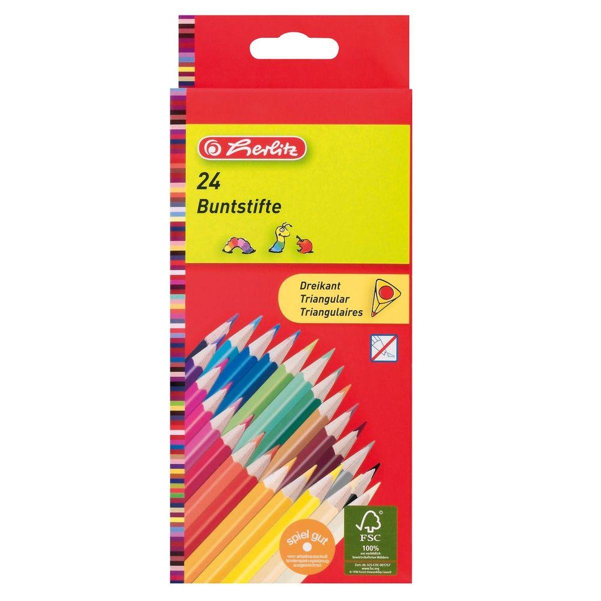 Herlitz Набор карандашей цветных трехгранные 24 шт herlitz цветные карандаши herlitz 12 шт трехгранные