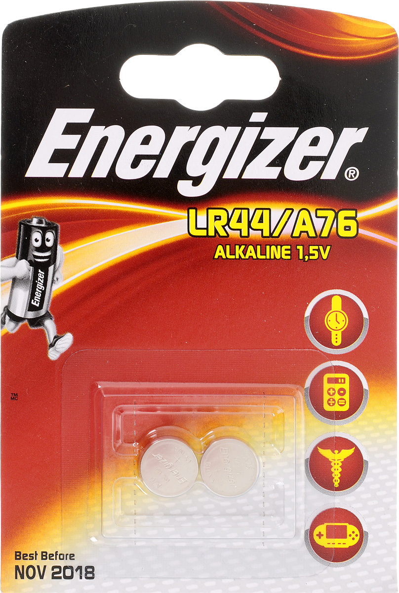Батарейка Energizer Alkaline, тип LR44/A76, 1,5V, 2 шт