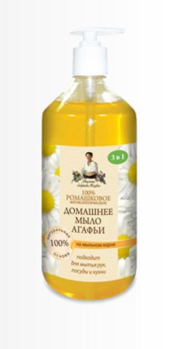 Рецепты бабушки Агафьимыло домашнее Агафьи 100% Ромашковое 1 л средство для мытья посуды рецепты бабушки агафьи мыльная сода 500мл
