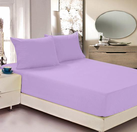 """Простыня на резинке Легкие сны """"Color Way"""", трикотаж, цвет: сиреневый, 200 x 200 см"""