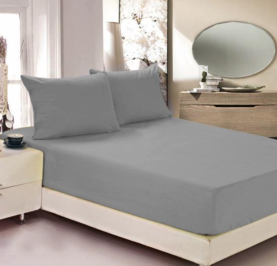 """Простыня на резинке Легкие сны """"Color Way"""", трикотаж, цвет: серый, 160 x 200 см"""