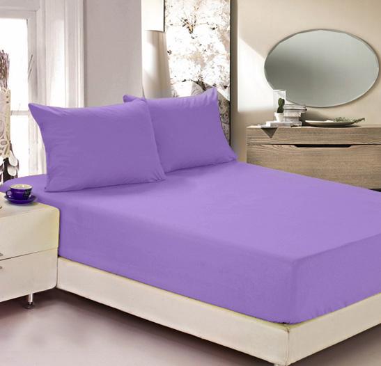 """Простыня на резинке Легкие сны """"Color Way"""", трикотаж, цвет: сиреневый, 90 x 200 см"""