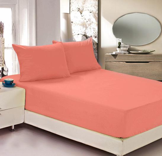 """Простыня на резинке Легкие сны """"Color Way"""", трикотаж, цвет: коралловый, 90 x 200 см"""