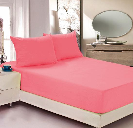 """Простыня на резинке Легкие сны """"Color Way"""", трикотаж, цвет: коралловый, 140 x 200 см"""