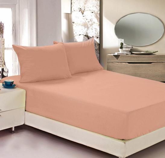 """Простыня на резинке Легкие сны """"Color Way"""", трикотаж, цвет: персиковый, 160 x 200 см"""