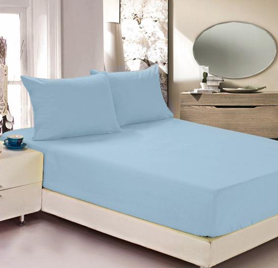 """Простыня на резинке Легкие сны """"Color Way"""", трикотаж, цвет: голубой, 200 x 200 см"""