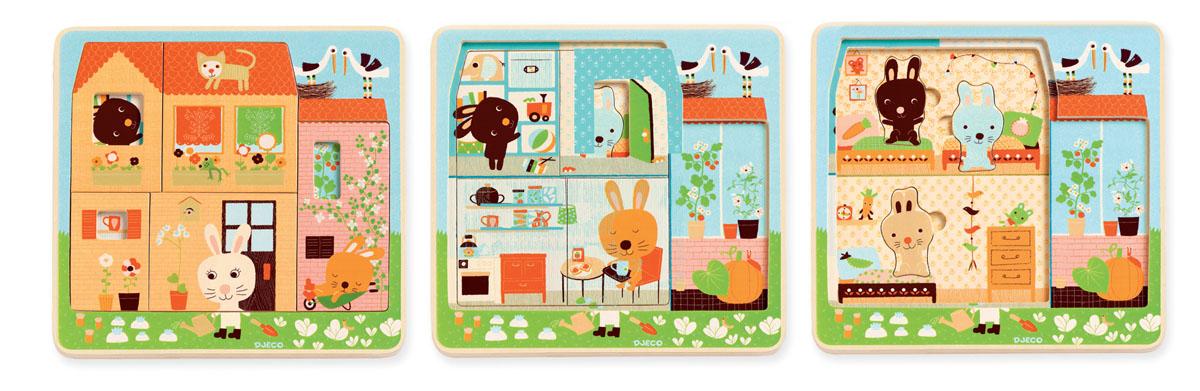 Djeco Пазл для малышей Дом зайцев фантазер пазл для малышей дом и дерево цвет основы оранжевый