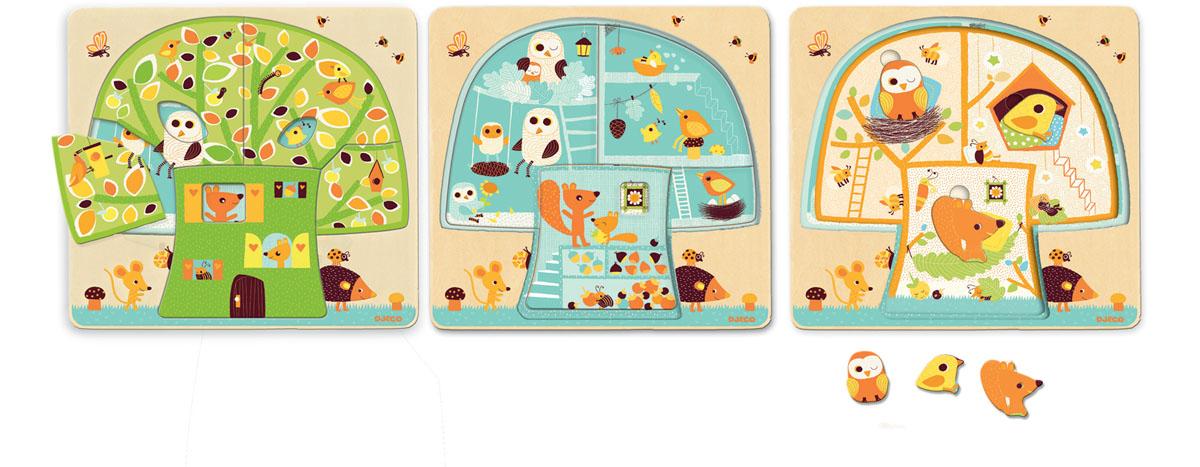 Djeco Пазл для малышей Дом-дерево фантазер пазл для малышей дом и дерево цвет основы оранжевый