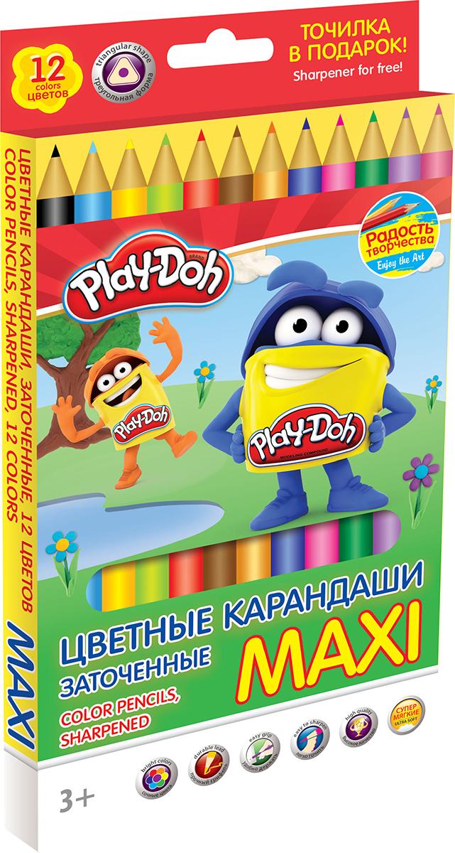 Play-Doh Набор цветных карандашей Maxi 12 цветов карандаши цветные 12цв play doh к к подвес