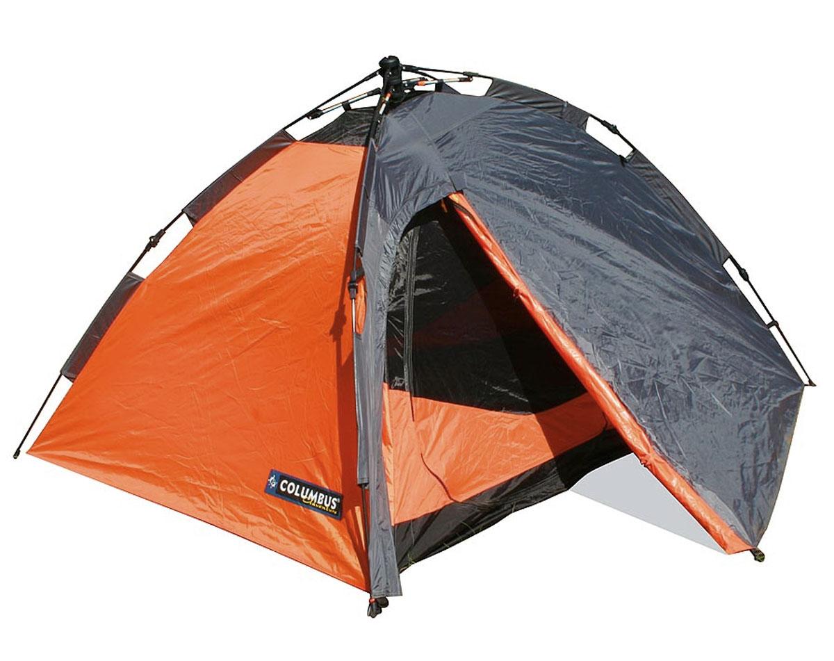 """Палатка двухместная Columbus """"Trek II"""" полуавтоматическая, двухслойная, цвет: серый, оранжевый"""