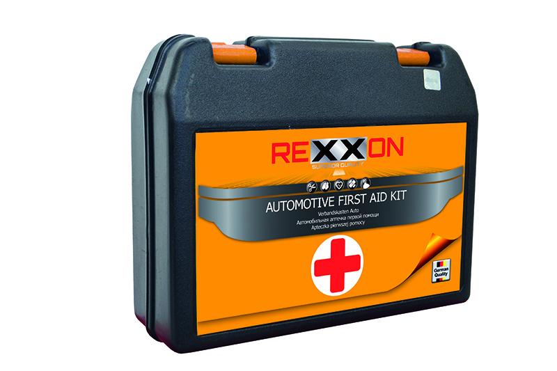 Аптечка первой помощи автомобильная REXXON, в пластиковой коробке джетпулл жгут медицинский