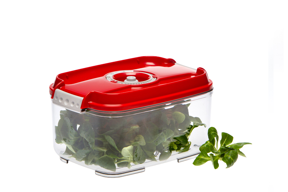 Фото - Контейнер вакуумный Status, цвет: прозрачный, красный, 2 л контейнер вакуумный status цвет прозрачный зеленый 4 5 л