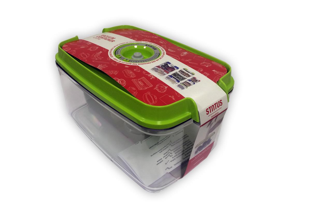 Фото - Контейнер вакуумный Status, цвет: прозрачный, зеленый, 4,5 л контейнер вакуумный status цвет прозрачный зеленый 4 5 л