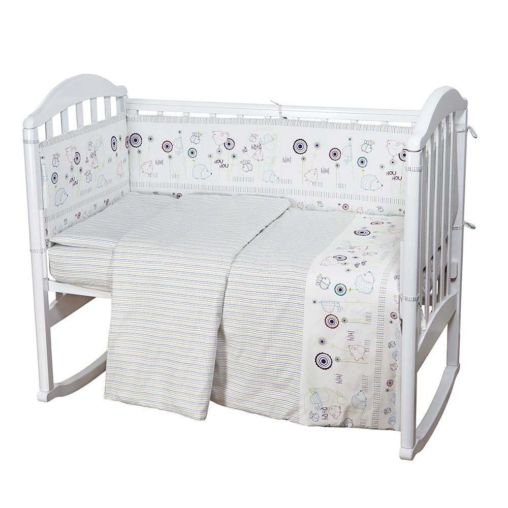 цена Baby Nice Комплект белья для новорожденных Ежик цвет белый онлайн в 2017 году