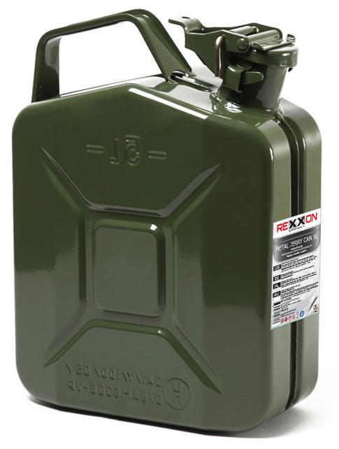 Канистра REXXON, с разрешением для бензина, металлическая, 5 л для автомобиля требуется 9 литров бензина на 100 км пути