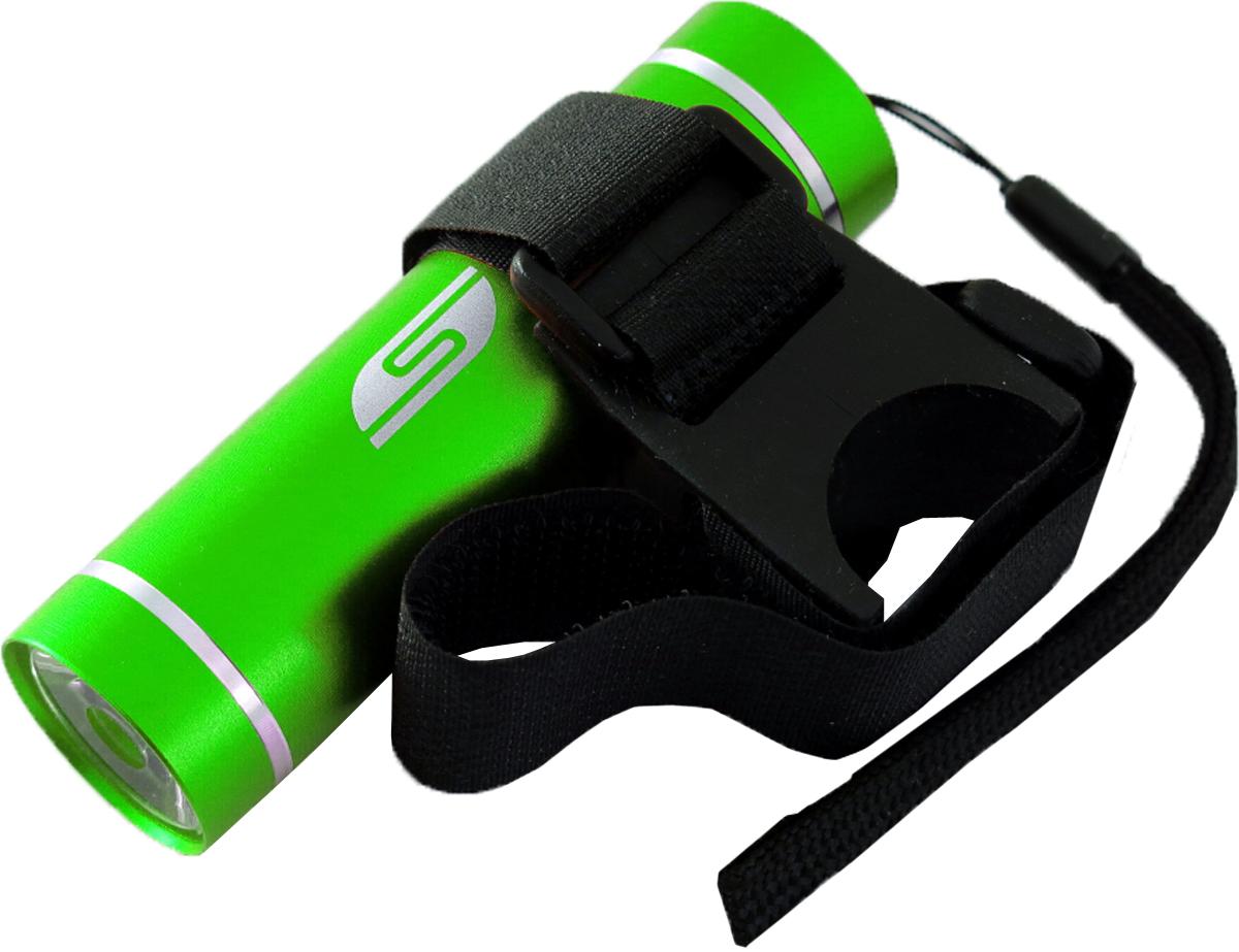 Фонарь велосипедный SolarisT-5V, передний, цвет: зеленый, черный