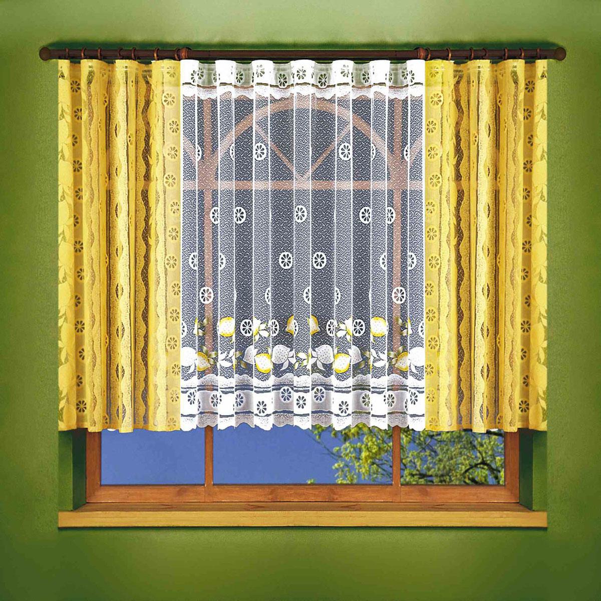 Комплект штор Wisan, на ленте, цвет: желтый, высота 150 см. 6109 шторы для комнаты tomdom комплект штор агно розовый 260 см
