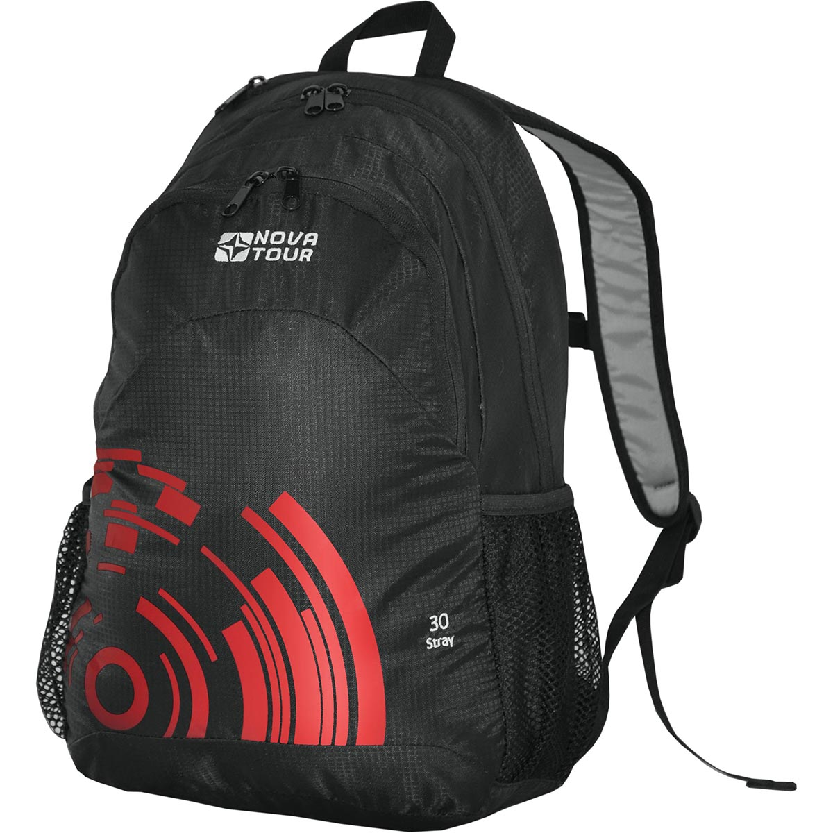 Рюкзак городской Nova Tour Стрэй 30, цвет: черный, красный, 24 л гермомешок внутренний nova tour лайтпак 5 л цвет красный