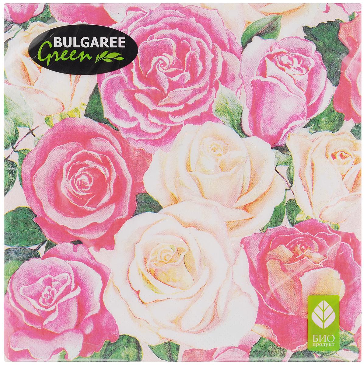 Салфетки бумажные Bulgaree Green Розовый букет, трехслойные, 33 х 33 см, 20 шт салфетки бумажные bulgaree green вышивка трехслойные 33 х 33 см 20 шт