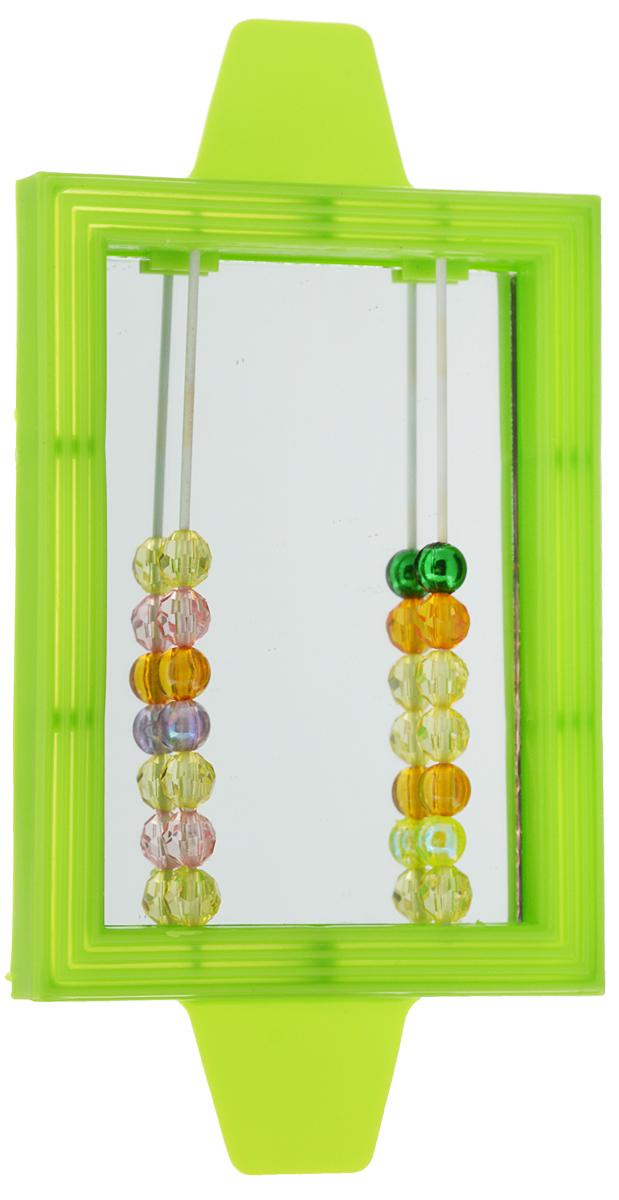 """Игрушка для птиц Triol """"Зеркало с бусинками"""", цвет: зеленый"""
