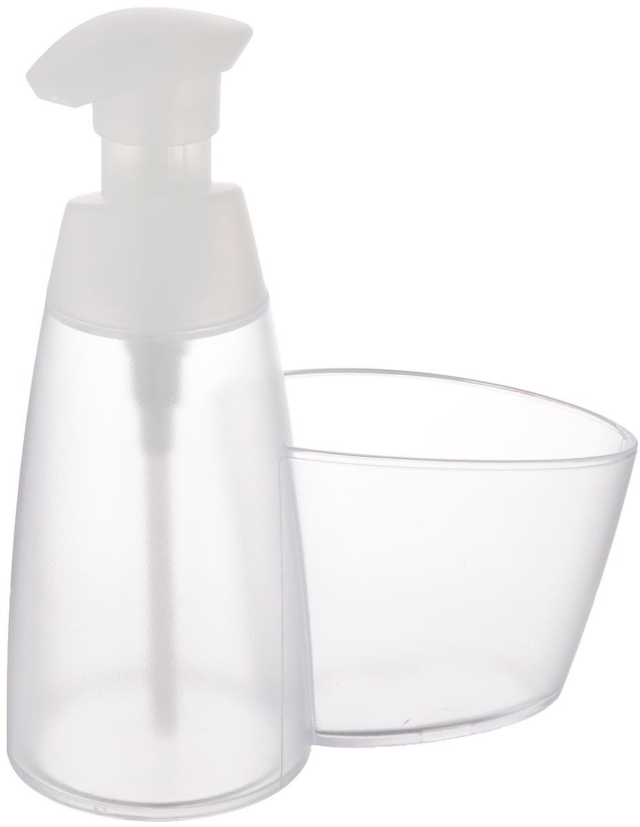 """Дозатор для моющего средства Tescoma """"Clean Kit"""", с подставкой для губки, цвет: прозрачный, белый, 350 мл"""