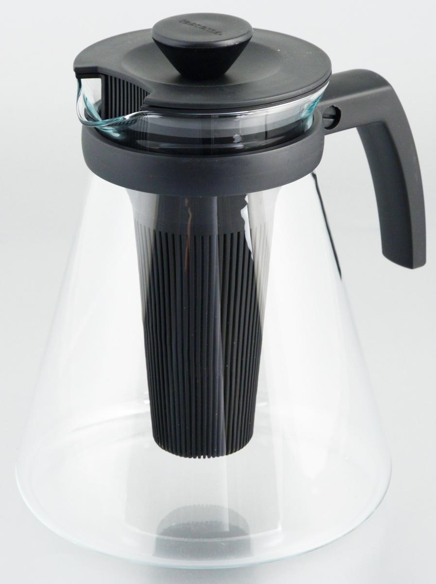 Фото - Чайник заварочный Tescoma Teo, с ситечками, цвет: черный, прозрачный, 1,7 л стеклянный чайник teo 1 25 л с ситечками для заваривания
