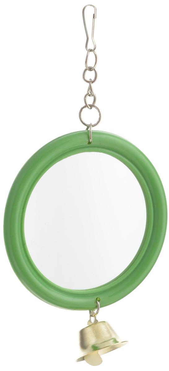 """Игрушка для птиц Triol """"Зеркало с колокольчиком"""", цвет: зеленый, золотистый"""