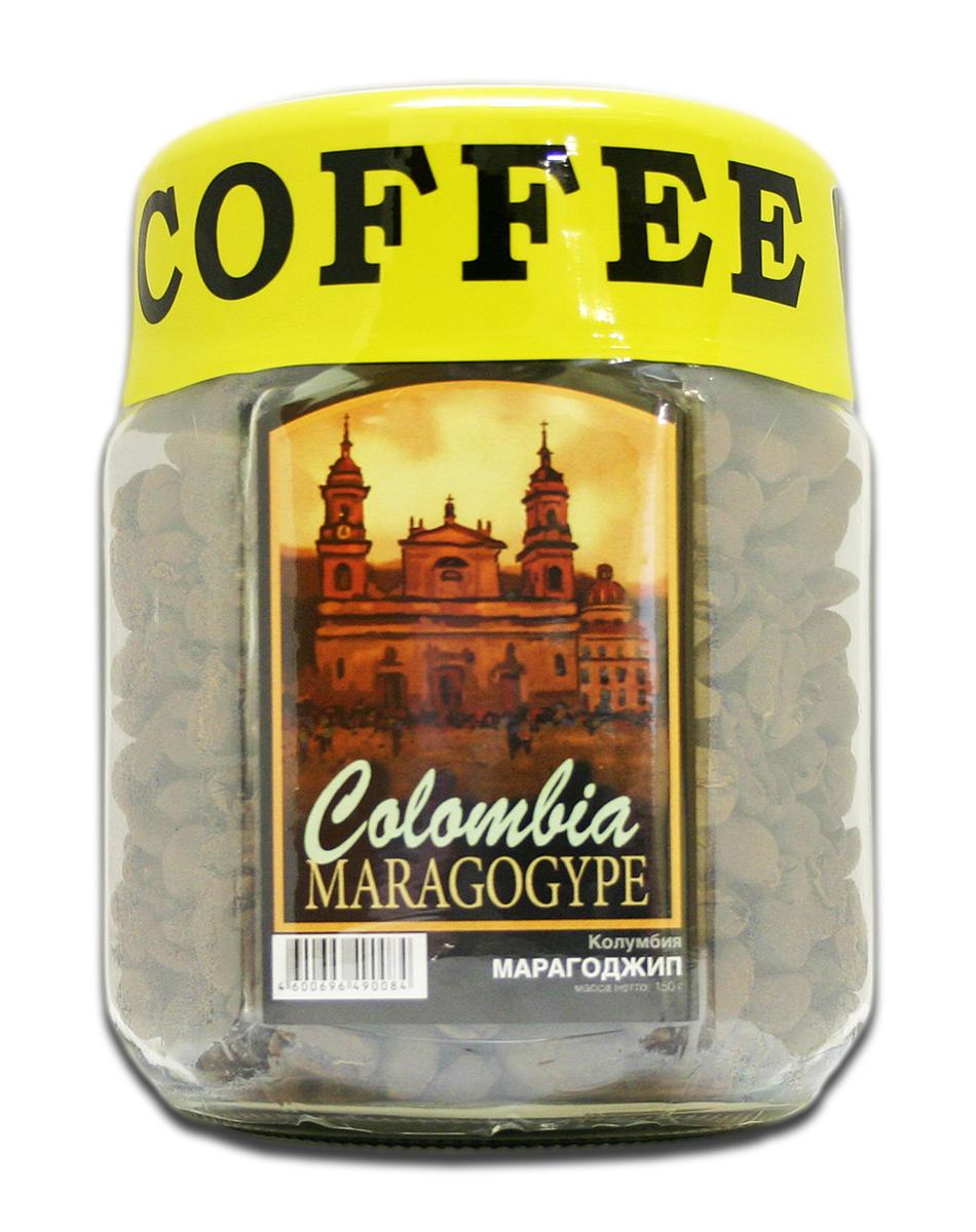 Блюз Марагоджип Колумбия кофе в зернах, 150 г (банка) блюз ароматизированный тоффи кофе в зернах 150 г банка