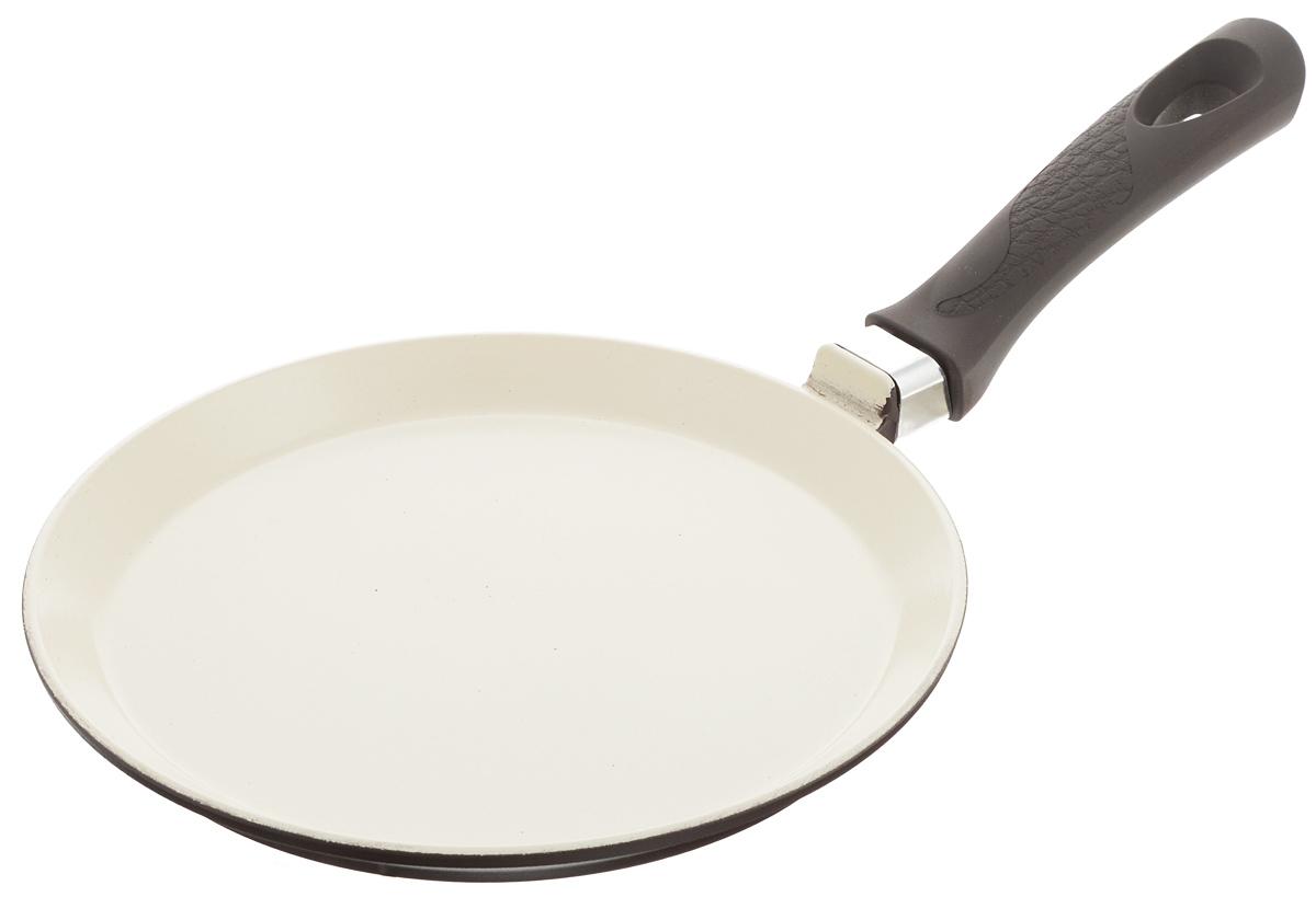 Сковорода блинная Vari Fresco Ceramica, с керамическим покрытием, цвет: кремовый, коричневый. Диаметр 22 см цена