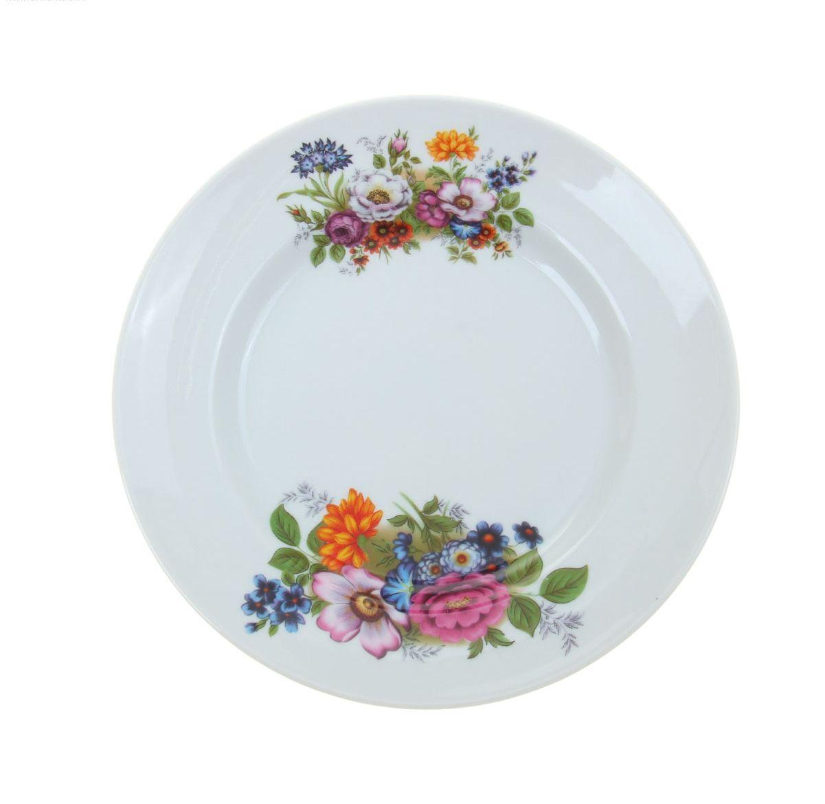 Тарелка мелкая Идиллия. Букет цветов, диаметр 20 см тарелка мелкая идиллия ромашка диаметр 20 см 5с0189