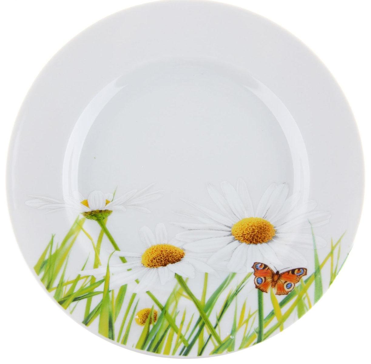 Тарелка мелкая Идиллия. Ромашка, диаметр 20 см. 5С0189 тарелка мелкая идиллия ромашка диаметр 20 см 5с0189
