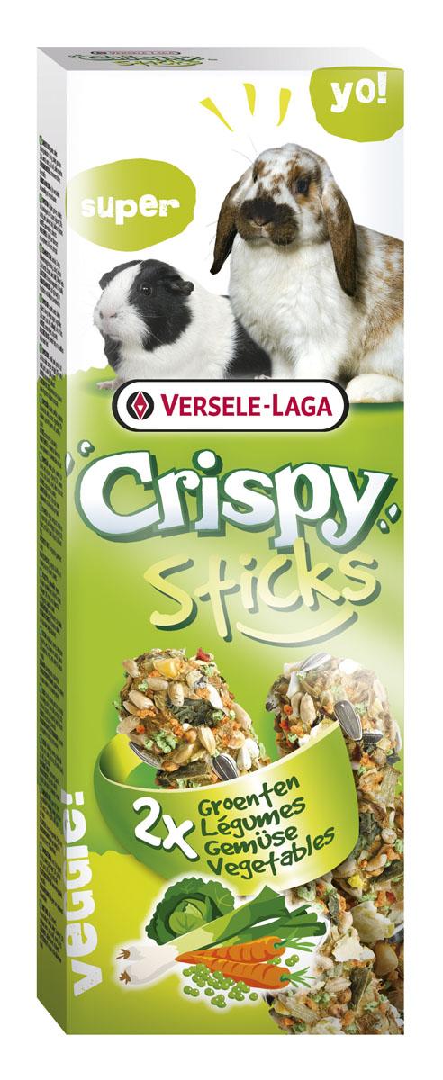 Палочки для кроликов и морских свинок Versele-Laga Crispy, с овощами, 2 х 55 г лакомства для грызунов versele laga crispy палочки для кроликов и морских свинок с овощами 2х55г