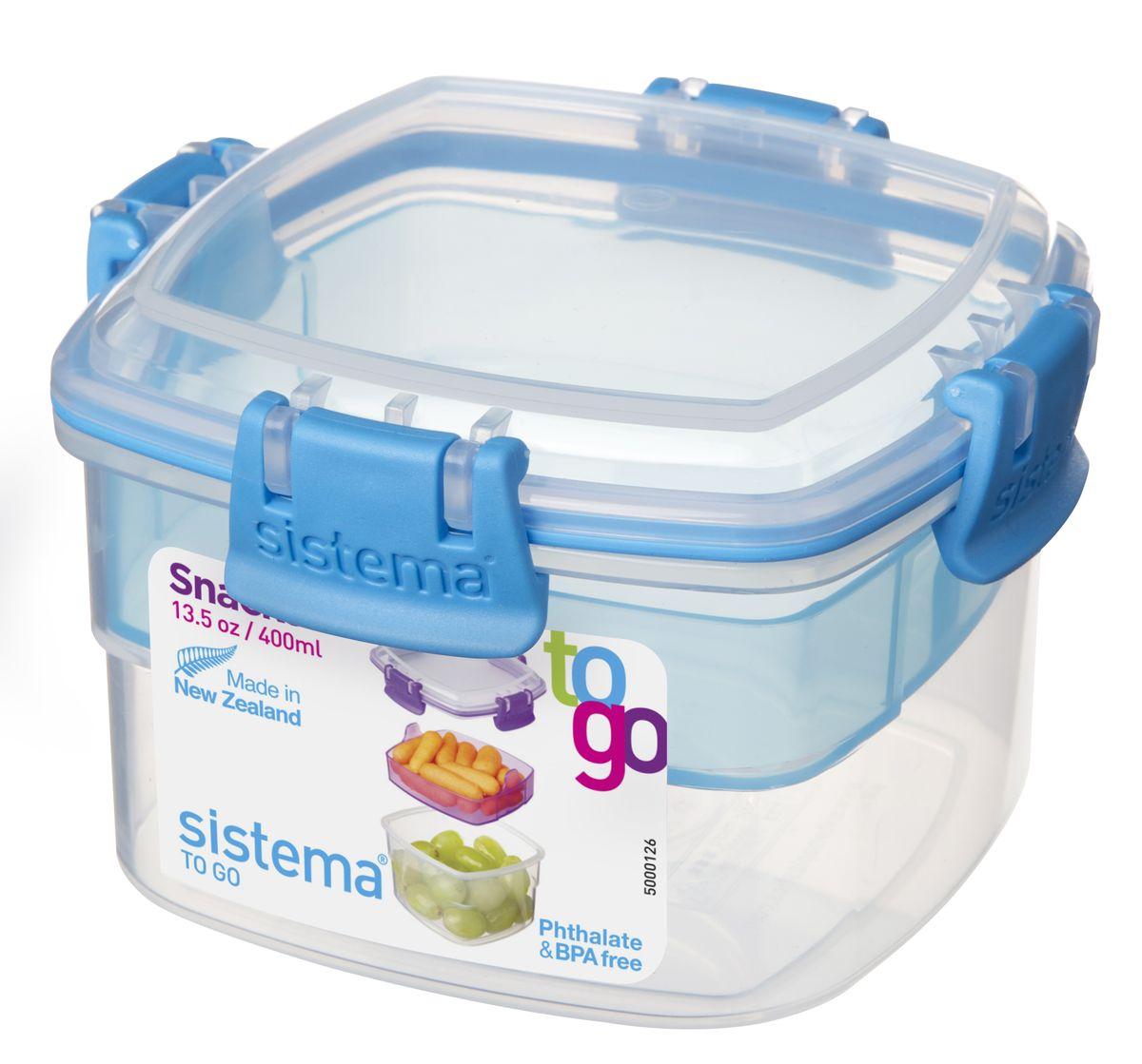 Контейнер пищевой Sistema To-Go, двухуровневый, цвет: прозрачный, голубой, 400 мл